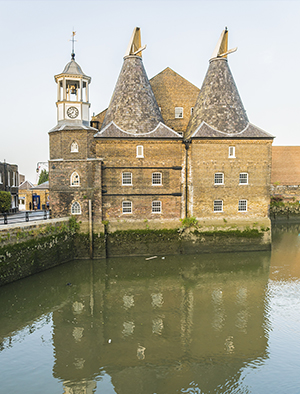 Former working mills on the River Lea in the East End of London